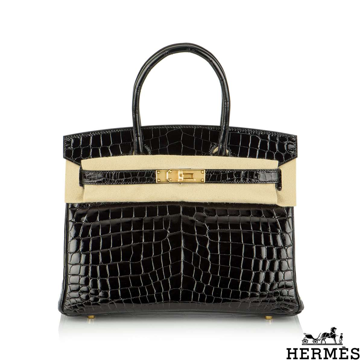 Hermès 30cm Sac Noir Niloticus Crocodile Birkin Bag